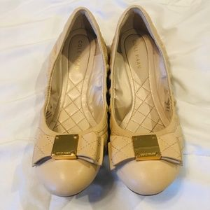 EUC Cole Haan Quilted Tan Bow Ballet Flats Sz 7